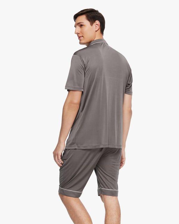 Set pigiama a maniche corte da uomo in seta rifinita Dark-Gray M-hover