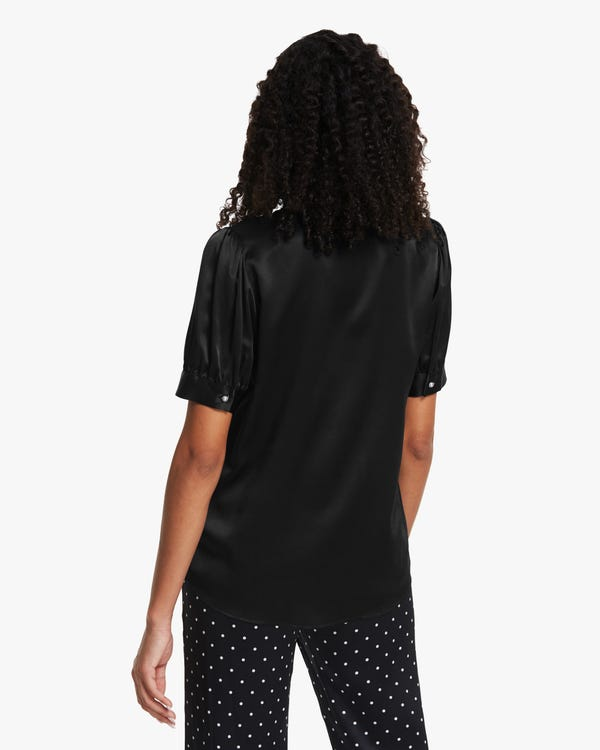 Distinctive Puff Sleeve Silk Shirt-hover
