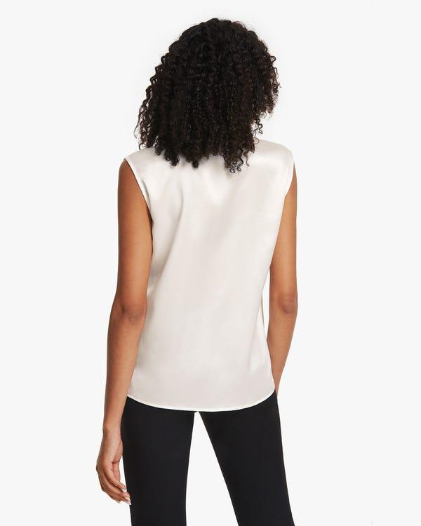 Camisa Seda Sin Mangas Cuello Exagerado-hover