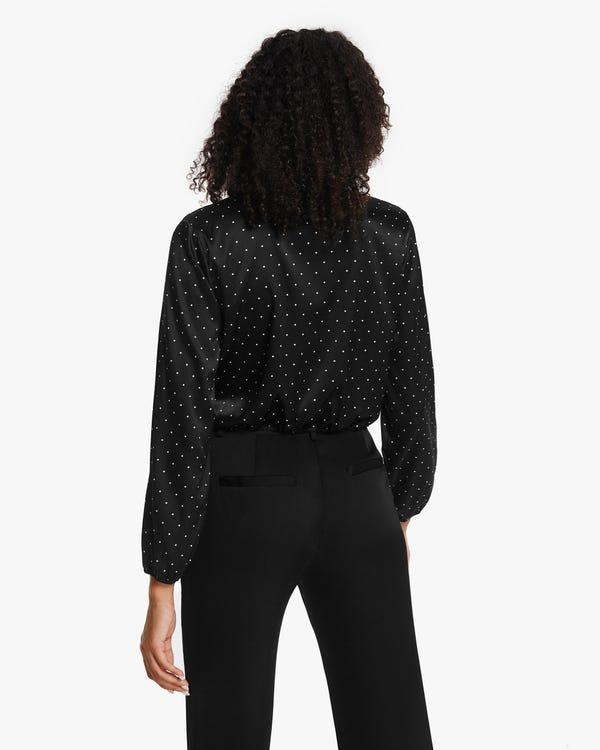 Camisa Seda Elástica Estampado de Lunares-hover