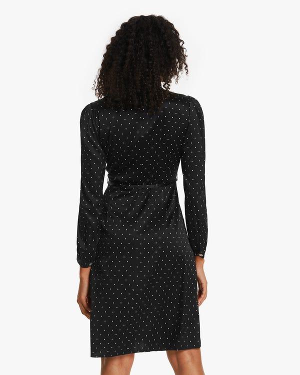 Polka Dots Print Stretchable Silk Dress-hover