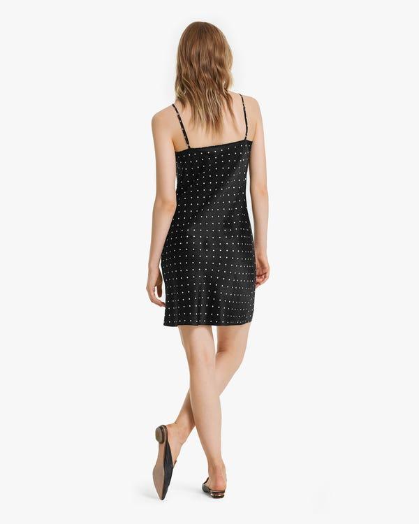 Polka Dots Print Silk Mini Dress-hover
