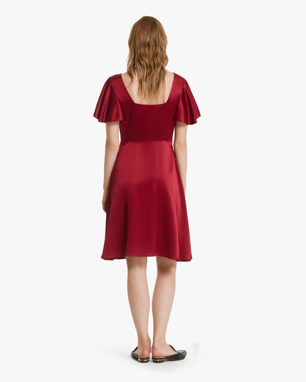 Glossy V Neck Silk Midi Dress Claret XXL-hover