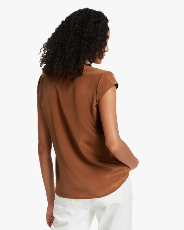 Pleated Neckline Silk Blouse-hover