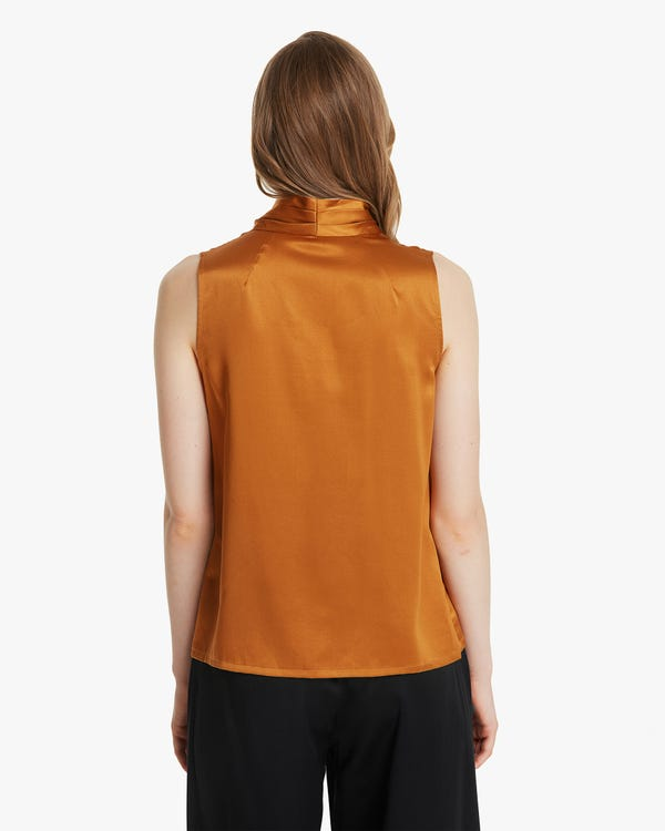 Sleeveless Pleat Silk Blouse-hover