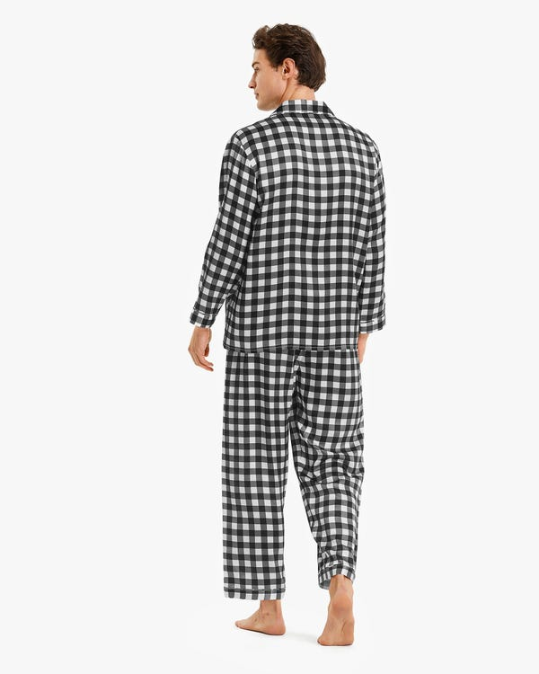 Stylish Checked Silk Pajamas For Men Black-Gray-White-Check XXL-hover