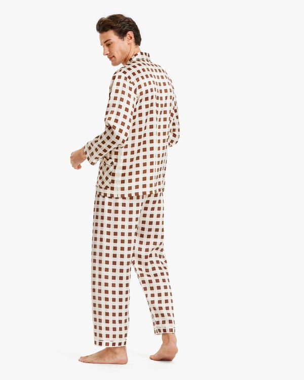 Stylish Checked Silk Pyjamas For Men-hover