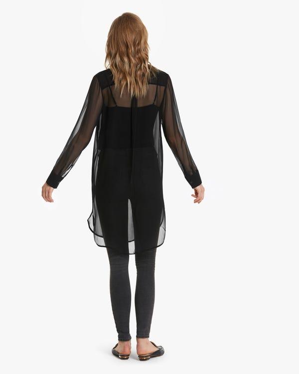 Airy Sheer Long Silk Shirt-hover