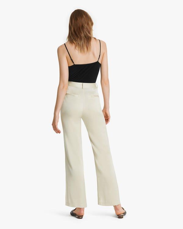 Bell Bottom Silk Women Pants Cream 27B-hover
