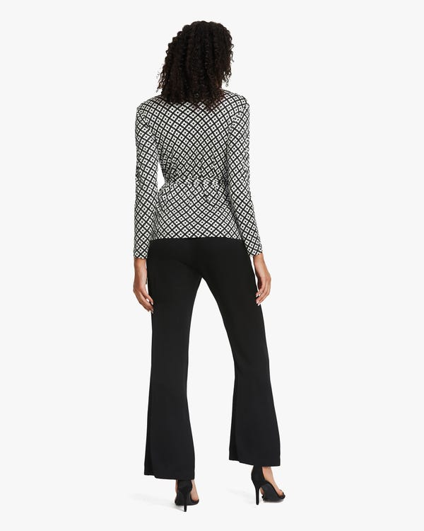 Pattern Print Silk-Knit Blouse-hover