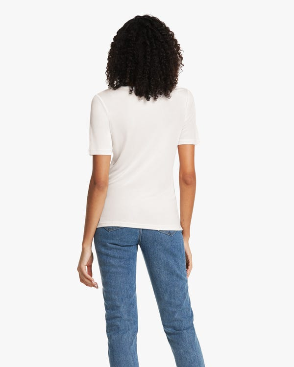 Crew Neck Silk Knit Tee For Women-hover