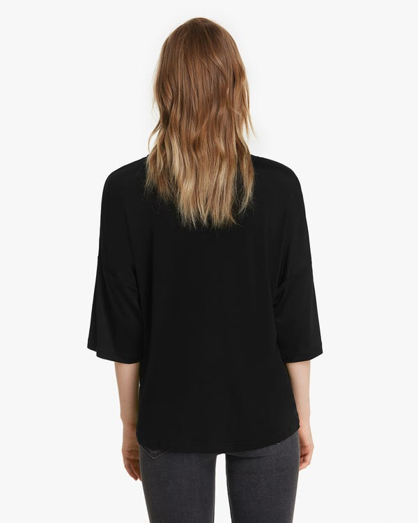 1/2 Sleeve Silk Knit Tee For Women-hover