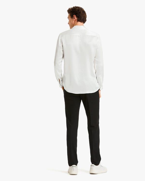 Camisa Seda para Hombres de Lunares White XL-hover