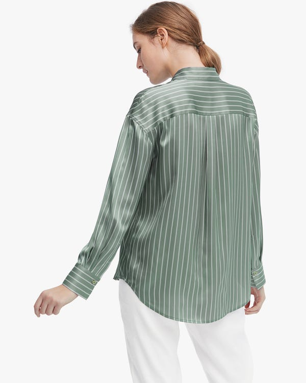 Layered Striped Pure Silk Blouse-hover