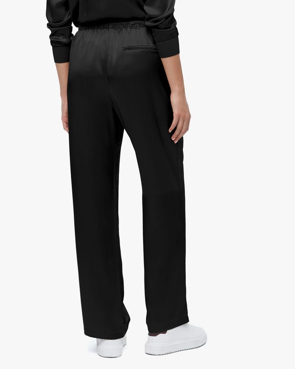 Simple Casual Straight Leg Silk Pants Black 31-hover