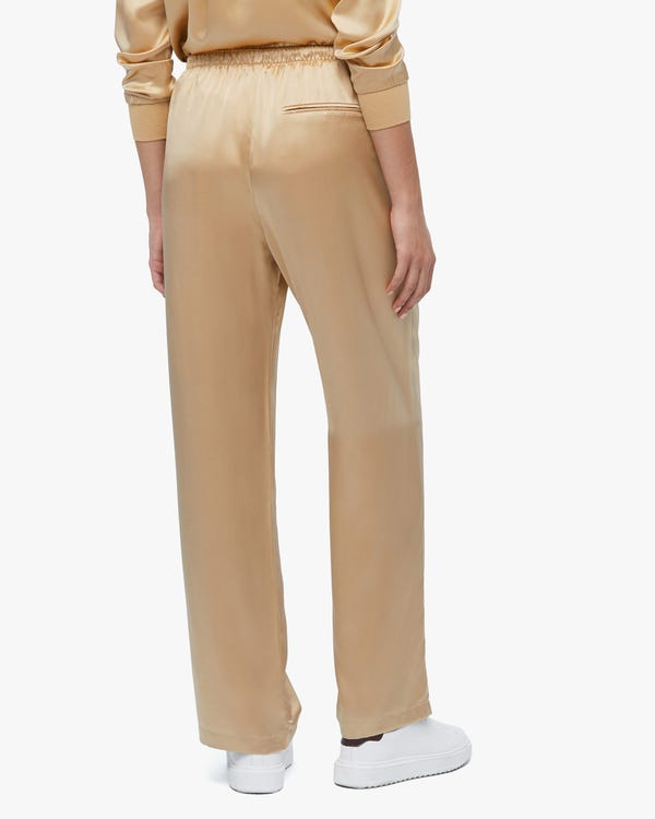Simple Casual Straight Leg Silk Pants