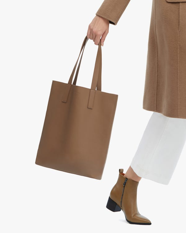 The Leather Vertical Tote Bag-hover