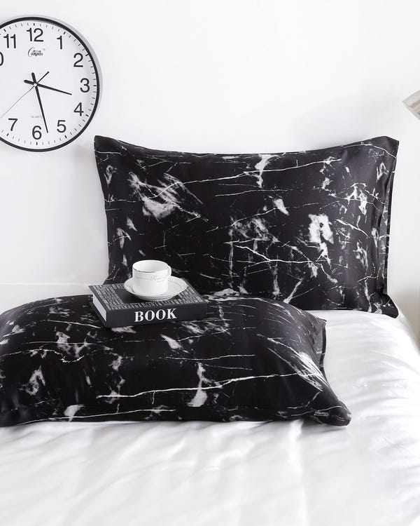 19 Momme Marbling Print Silk Envelope Pillowcase Black Marble Print King-hover