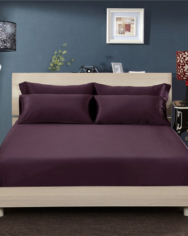 25 Momme Seamless Luxury Fitted Sheet Purple King