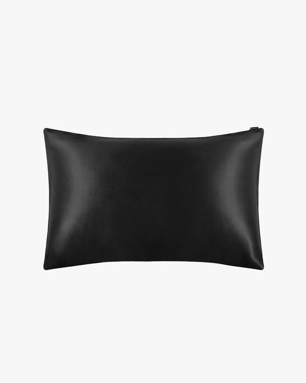 19 Momme Silk Pillowcase With Cotton Underside And Hidden Zipper Black 50x75cm-hover