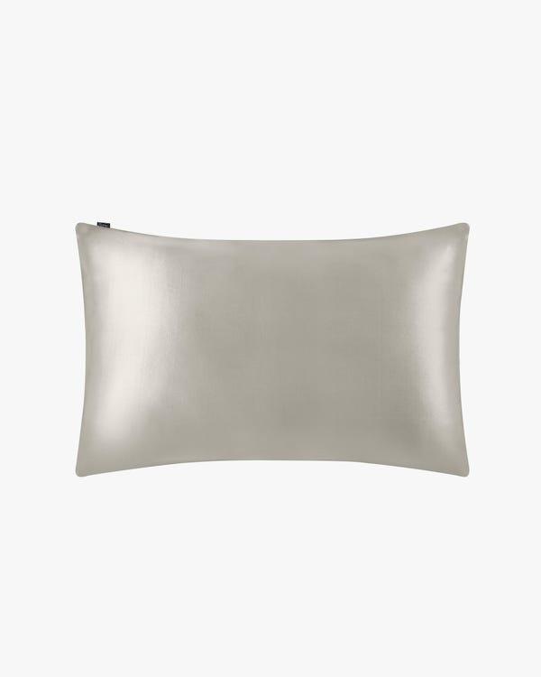 19 Momme Seide Kissenbezug mit Baumwolle Unterseite Silber Grau 40x40cm-hover