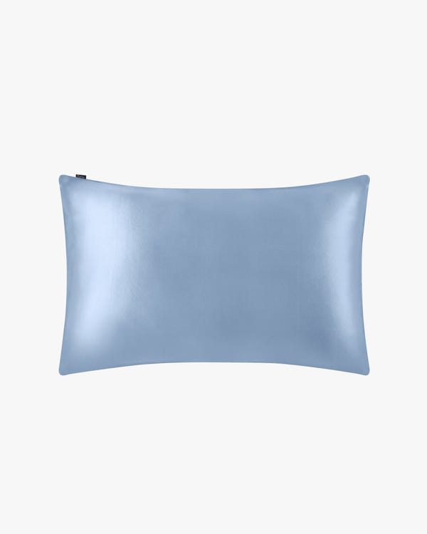 19 Momme Silk Pillowcase With Cotton Underside And Hidden Zipper Light Blue 50x90cm-hover