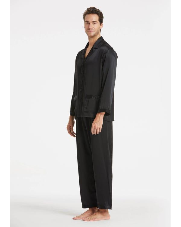 Braderie Suite De Pyjama Longue En Soie Classique Pour Homme L-hover