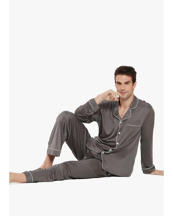Braderie Pyjama Décontracté en Soie à Col à Revers pour Homme S-hover