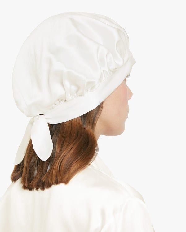 19  Momme Bonnet de Nuit en Soie Classique avec Rubans-hover