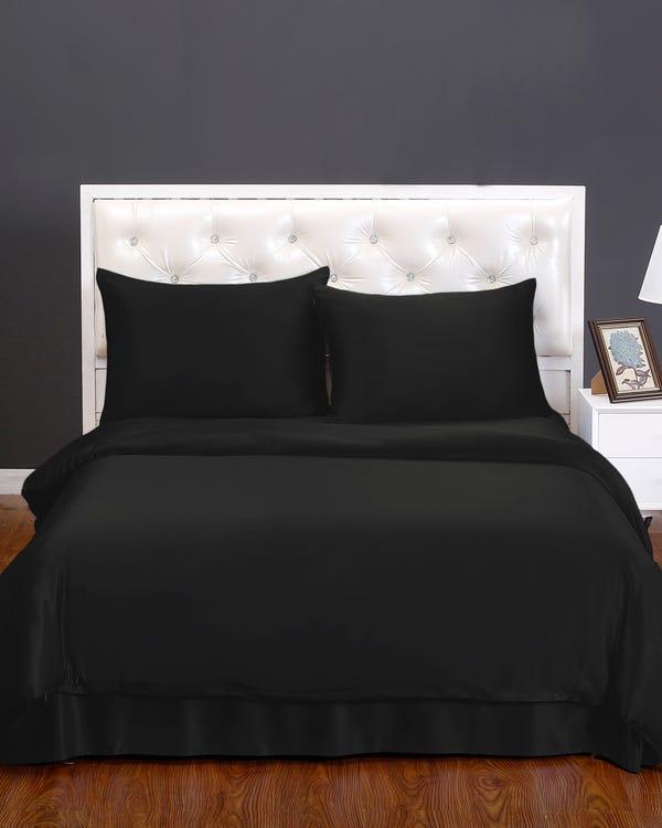 19 Momme nahtlos Seide Bettbezug Schwarz 155x200cm-hover