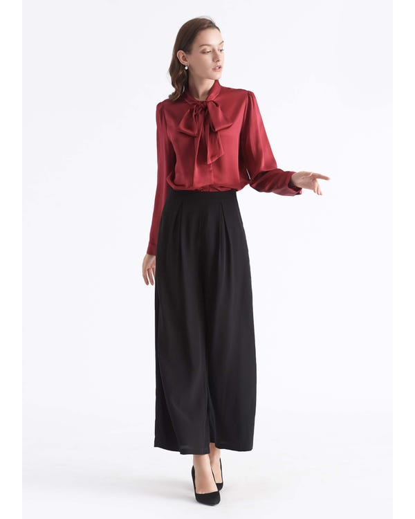 Bow-tie Neck Silk Blouse-hover
