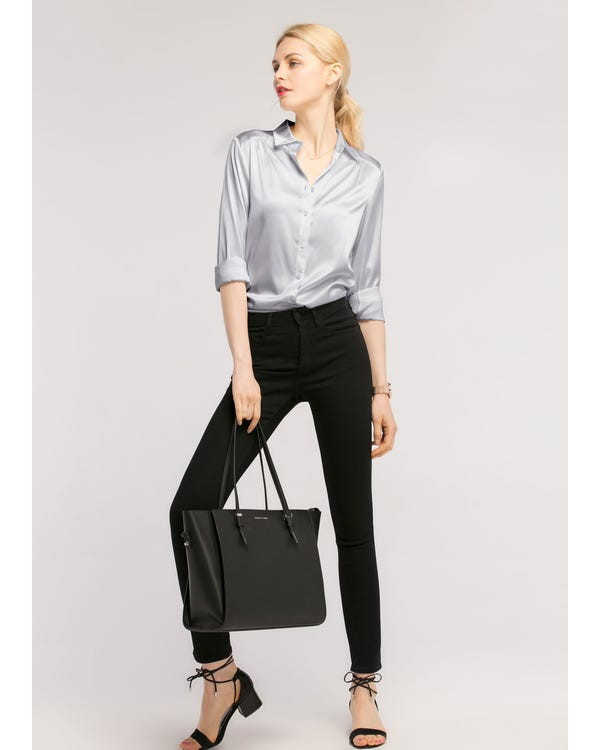 Long Sleeves Collared  Silk Blouse-hover