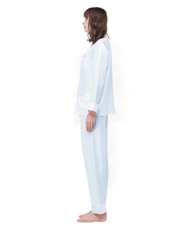 Stripes Printed Button-up long Silk Dress