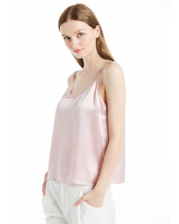 V Hals Voor en Terug Zijde Camisole Rooskleurige Roze L