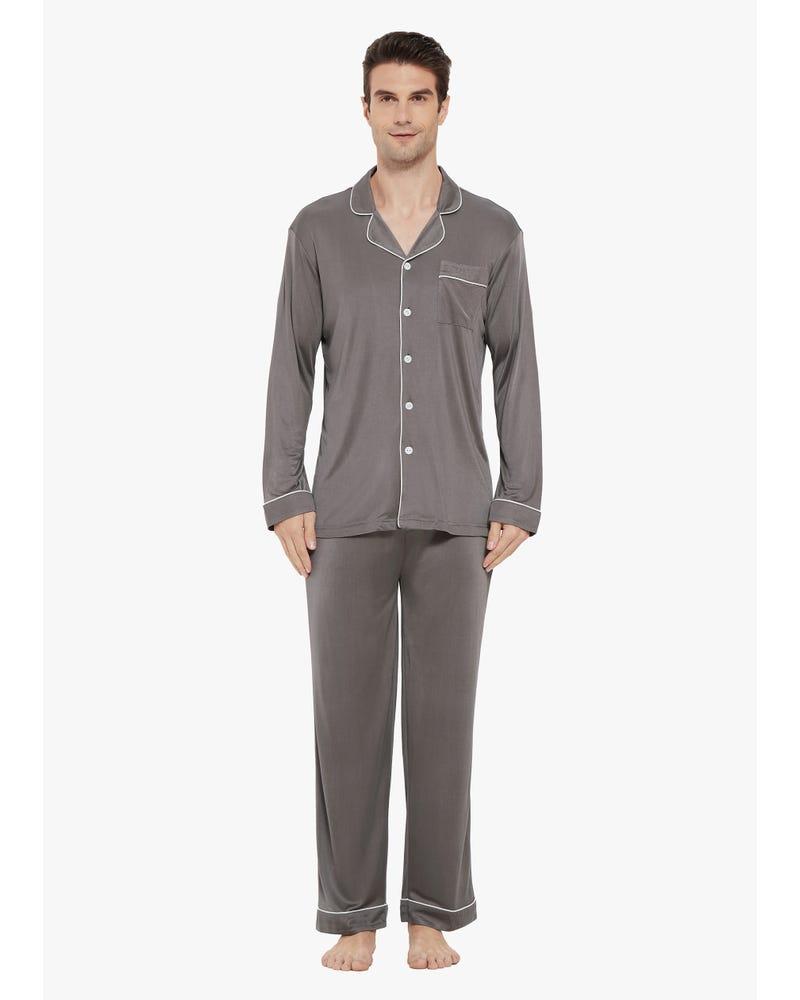 Pyjama Décontracté en Soie à Col à Revers pour Homme