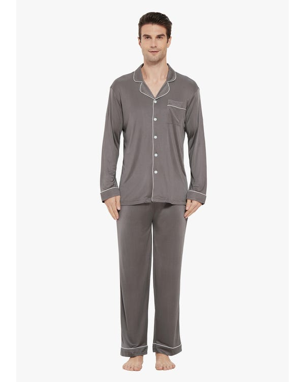 Casual Lapel Collar Silk Pyjamas Set for Men