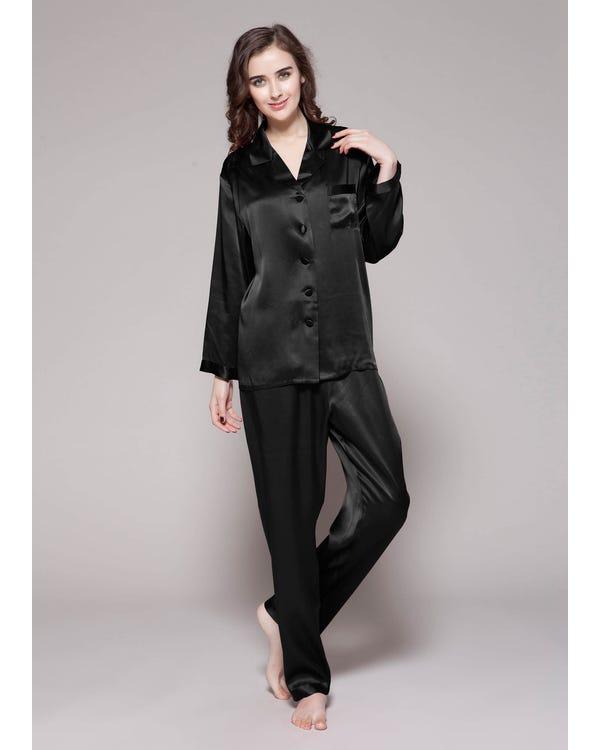 22 Momme Lang elegant Seide Pyjamas Nachtwäsche Damen Schwarz M bis L