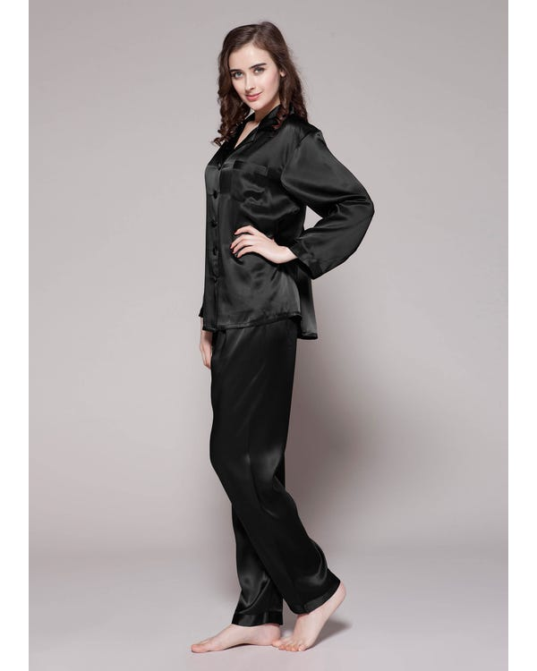 22 Momme Lang elegant Seide Pyjamas Nachtwäsche Damen Schwarz M bis L-hover