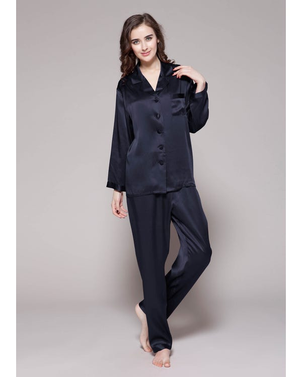 22 Momme Full Length Silk Pajamas Set Navy Blue XXL