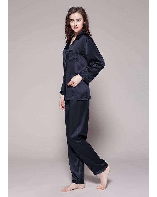 22 Momme Full Length Silk Pajamas Set Navy Blue 1X-hover