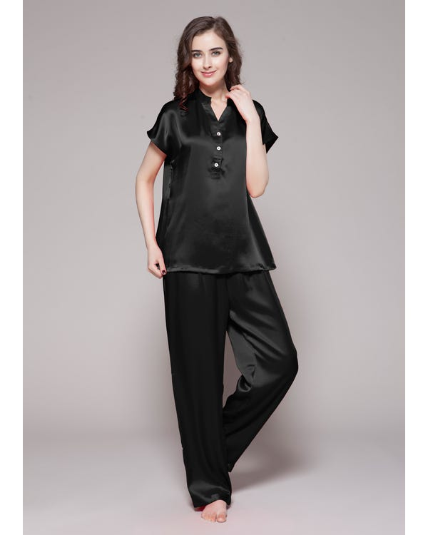22 Momme Half Buttoned Front Silk Pajamas Set Black 1X