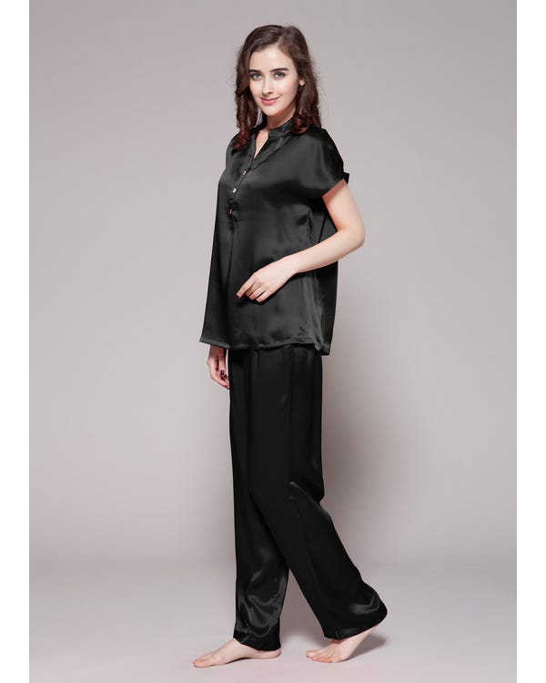 22 Momme Half Buttoned Front Silk Pajamas Set Black 1X-hover