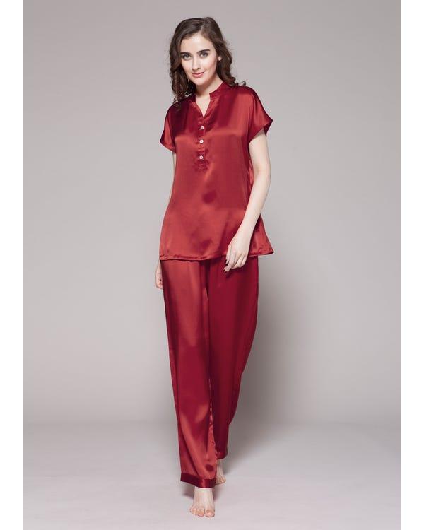 22 Momme Lang Knopf Seide Nachtwäsche Pyjamas Damen Rotwein M bis L