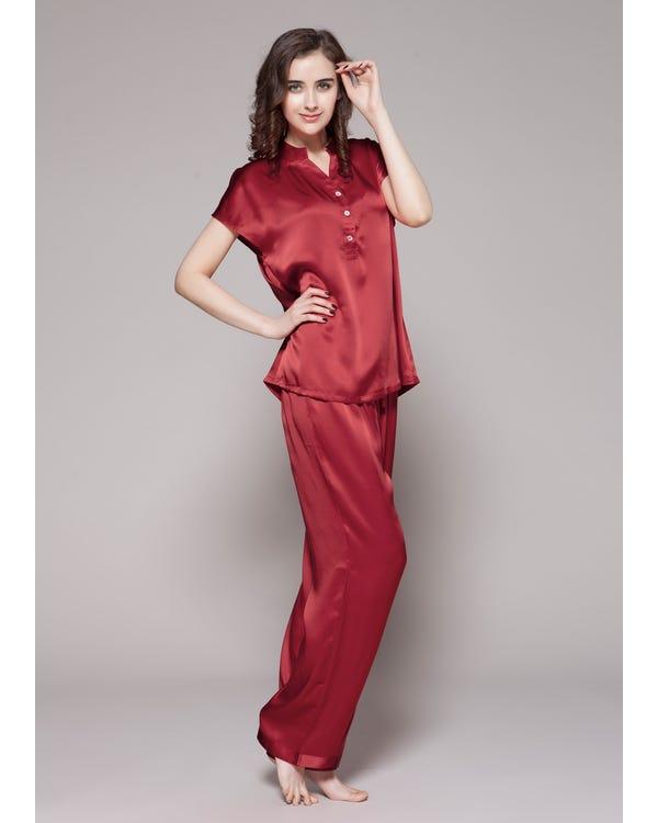 22 Momme Lang Knopf Seide Nachtwäsche Pyjamas Damen Rotwein M bis L-hover