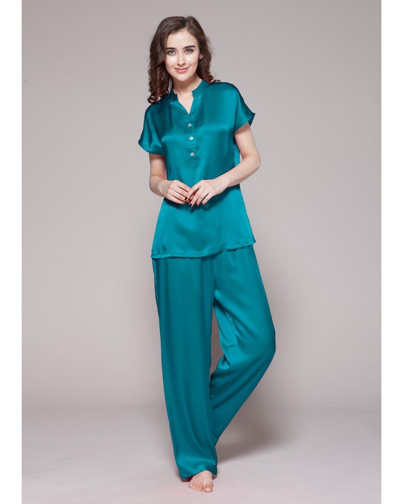 22 Momme Conjunto de Pijamas de Seda Medio Abotonado Frente