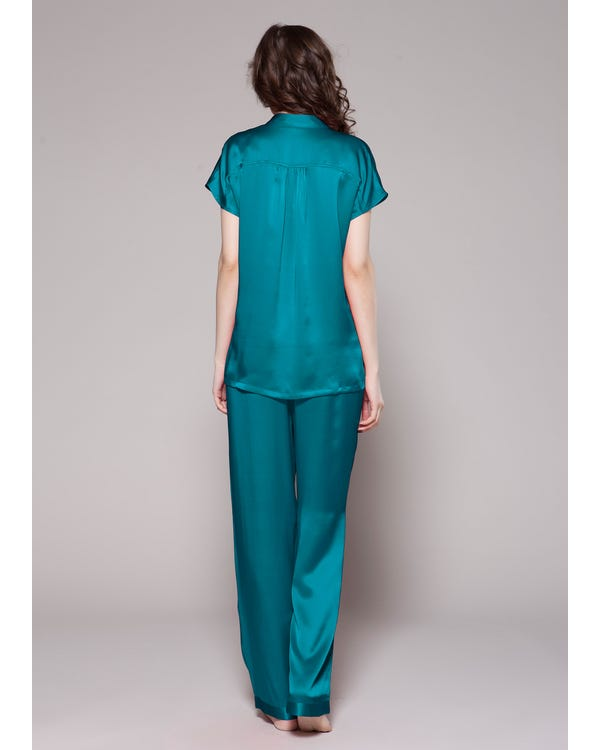 22 Momme Half Buttoned Front Silk Pajamas Set-hover