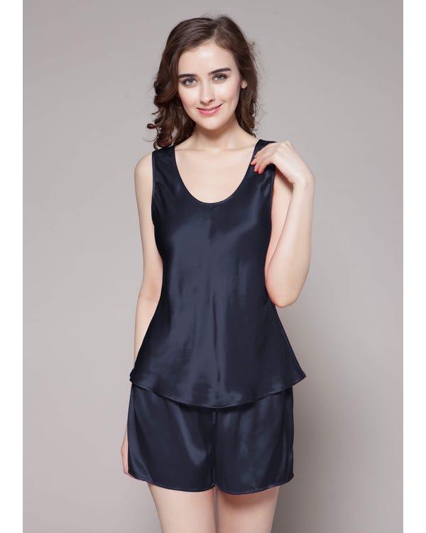 22 Momme Sexy Seide Pyjamas Nachtwäsche Nachtkleid Damen Dunkel Blau M bis L