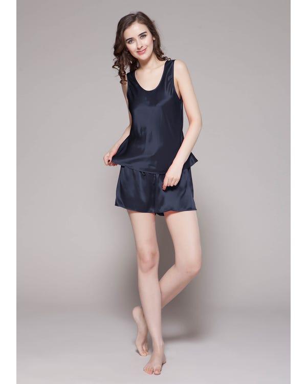 22 Momme Sexy Seide Pyjamas Nachtwäsche Nachtkleid Damen Dunkel Blau M bis L-hover