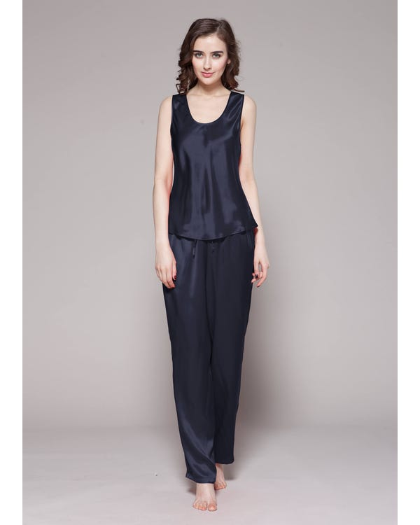 22 Momme Long Silk Camisole Set Navy Blue Extra M