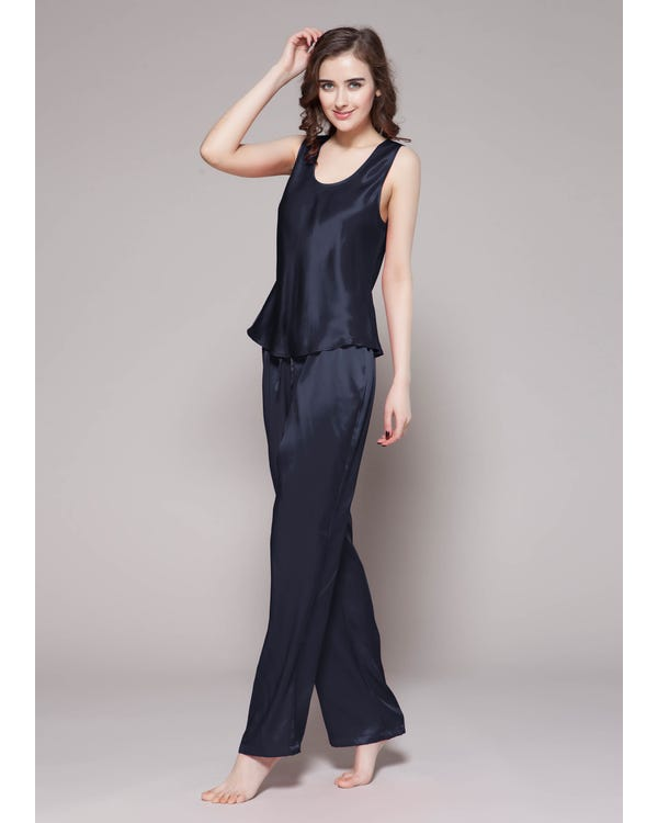 22 Momme Long Silk Camisole Set Navy Blue Extra M-hover